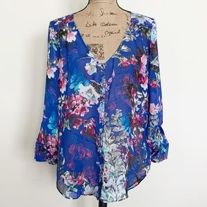 Bebe blue floral sheer button down blouse